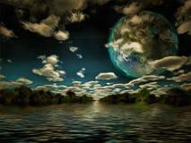 Terraformed luna or exo planet Stock Photos