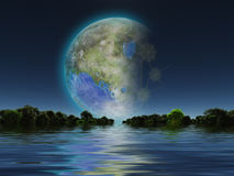 Terraformed Luna. Terraformed Moon seen from Earth Stock Photography