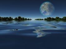 Terraformed-Mond von der Erde oder vom Extrasolarplaneten Stockfotos