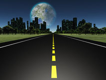 Terraformed moon as seen from highway on earth. Terraformed moon as seen from highway on future earth Stock Photography