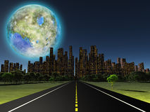 Terraformed moon. As seen from highway on future earth Stock Photos
