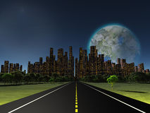 Terraformed moon. As seen from highway on future earth Royalty Free Stock Photos