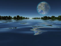 Terraformed Moon from Earth or Extra Solar Planet Stock Photos