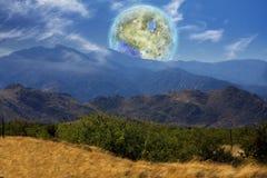 Terraformed Moon. Mountain Vista. Terraformed moon seen from the Earth. 3D rendering Stock Image