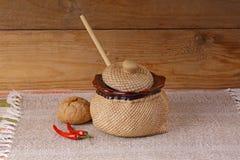 Terraglie e peperoni Fotografia Stock