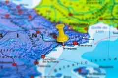 Terragona Spain map. Terragona in Spain pinned on colorful political map of Europe. Geopolitical school atlas. Tilt shift effect Stock Photography