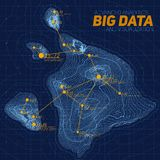 Terrain big data visualization. Futuristic map infographic. Complex topographical data graphic visualization. Royalty Free Stock Photo