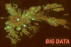 Terrain big data visualization. Futuristic map infographic. Complex topographical data graphic visualization. Abstract data on elevation graph. Colorful Stock Image