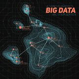 Terrain big data visualization. Futuristic map infographic. Complex topographical data graphic visualization. Stock Photo