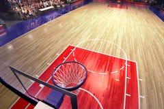 Terrain de basket avec la fan de personnes Stade de sport Photoreal 3d rendent le fond blured dans la possibilité éloignée distan Image stock