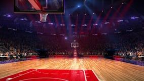Terrain de basket avec la fan de personnes Stade de sport Préparez pour commencer le championnat 3d rendent déménager de lumières clips vidéos