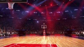 Terrain de basket avec la fan de personnes Stade de sport Préparez pour commencer le championnat 3d rendent déménager de lumières banque de vidéos