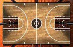 Terrain de basket en bois avec le parquet Image stock