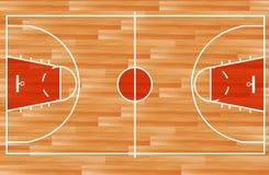 Terrain de basket en bois de vecteur Photos libres de droits