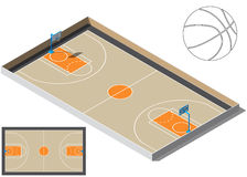 Terrain de basket isometry Silhouette de boule de basket-ball Photo libre de droits