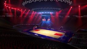 Terrain de basket sans fan de personnes Stade de sport Préparez pour commencer le championnat 3d rendent déménager de lumières illustration stock