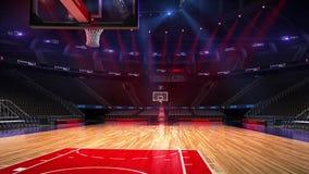 Terrain de basket sans fan de personnes Stade de sport Préparez pour commencer le championnat 3d rendent déménager de lumières clips vidéos