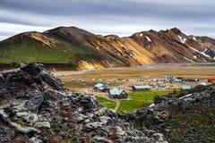 Terrain de camping de Landmannalaugar photo stock