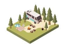 Terrain de camping en Forest Isometric Design Photo stock