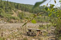 Terrain de camping inondé Images libres de droits