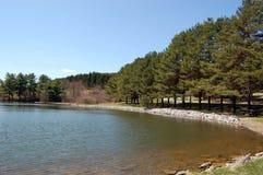 terrain de camping près d'étang Photographie stock