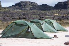 Terrain de camping sur le bâti Roraima photographie stock