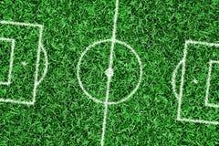 Terrain de football avec des inscriptions Photographie stock