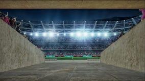 Terrain de football avec des lumières et vue de rendu des spectors 3d de couloir entrant Image stock