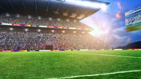 Terrain de football avec les lumières et le rendu du panorama 3d de spectors Image libre de droits