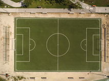 Terrain de football d'en haut Photos libres de droits