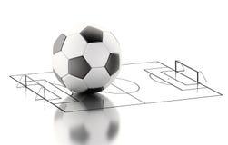 terrain de football 3d et boule Image stock