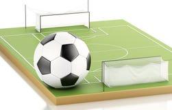 terrain de football 3d et boule Photographie stock libre de droits