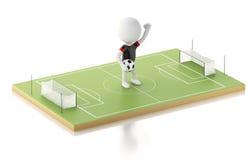 terrain de football 3d et personnes de race blanche Photo stock