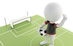terrain de football 3d et personnes de race blanche Photographie stock libre de droits