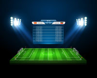 Terrain de football de vecteur avec le tableau indicateur, vecteur Photographie stock libre de droits