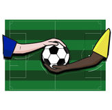 Terrain de football du football, joueur de main et boule, vecteur Image stock