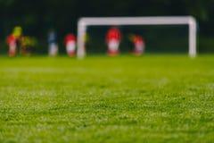 Terrain de football du football Image d'angle faible de gazon vert sur le lancement du football photo libre de droits