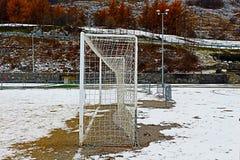 Terrain de football de Milou en hiver Image stock