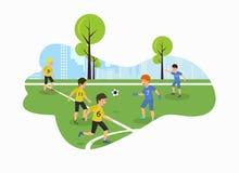 Terrain de football plat de championnat d'enfants de vecteur illustration de vecteur