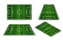Terrain de football, stade de football européen Cour pour le jeu de sport Vecteur Photos stock