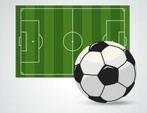 Terrain de football, stade de football européen Cour pour le jeu de sport Vecteur Image stock