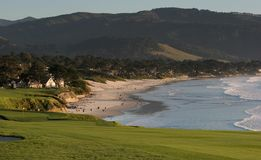 Terrain de golf de Pebble Beach, Ca Images stock