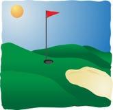 Terrain de golf ensoleillé Photo stock