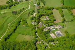 Terrain de golf et terres cultivables, vue aérienne, Surrey Image libre de droits