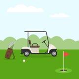 Terrain de golf et voiture Images libres de droits