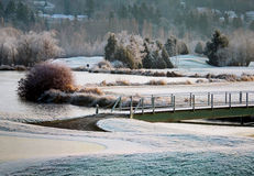 Terrain de golf sur Frosty Morning Photographie stock libre de droits
