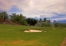 Terrain de golf tropical Images libres de droits