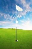 Terrain de golf un beau jour La boule de golf est près du trou Photographie stock