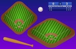 Terrain de jeu, boule, batte de baseball, et tableau indicateur isométriques de base-ball Vue supérieure de terrain de base-ball  Photos stock