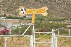 """Terrain de jeu de chien près de la montagne L'inscription dans espagnol - """"zone de chien """"Entrée photographie stock"""